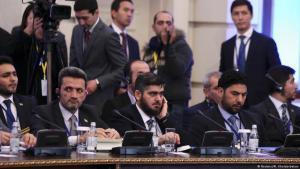 Syrische Oppositionsdelegation unter der Leitung von Mohammad Alloush (Mitte) nimmt an der ersten Verhandlungsrunde in Astana im Januar 2017 teil. (Foto: Reuters / Mukhtar Kholdorbekov)