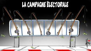The Algerian election campaign – ″Fishing for votes″ (cartoon: Le Hic; source: Facebook)