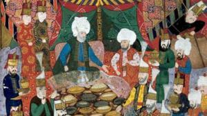 Ein Bankett zu Ehren des Janitscharen-Kommandeurs Lala Mustafa Pahsa in Izmit am 5. April 1578; Quelle: Topkapi Palace Museum Library, MS H1365, fol. 34b.