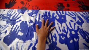 Handabdrücke als Protestsymbol gegen die saudischen Luftangriffe im Jemen; Foto: Reuters