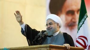 Hassan Rohani während einer Rede am Khomeini-Mausoleum am 1. Mai 2017; Foto: jamaran.ir