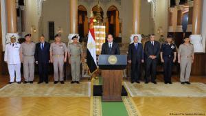 Der ägyptische Präsident Abdel Fattah al-Sisi gibt eine Erklärung nach dem Terroranschlag in Minya ab, 26.05.2017; Foto: Reuters