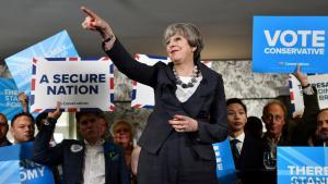 Theresa May während einer Wahlveranstaltung in London am 8. Juni 2017; Foto: Reuters/B. Stansall