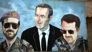Wandbild in Damaskus zeigt Syriens Ex-Diktator Hafiz al-Assad mit seinen Söhnen; Foto: Reuters
