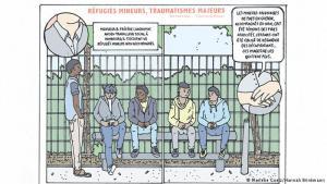 """Comicreportagen in vier Sprachen: Das Projekt """"Alphabet des Ankommens"""" entstand, wie vieles Gute, durch zufällige Begegnungen und ein gemeinsames Interesse. Deutsche und aus anderen Ländern stammende Texter und Grafiker fanden sich schnell zusammen. Das Ergebnis am Ende eines einwöchigen Workshops in Hamburg: zwölf ganz verschiedenartige Comicreportagen zu Themen der Neuankömmlinge - auf Deutsch, Englisch, Französisch, Arabisch."""