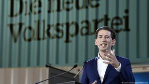 Der Vorsitzende der Österreichischen Volkspartei (ÖVP), Sebastian Kurz, am 1.7.2017 in Linz; Foto: dpa/picture-alliance
