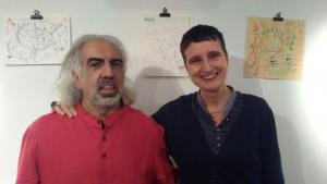 """Der palästinensische Dichter Farid Bitar (l.) und """"Blade of Grass""""-Herausgeberin Naomi Foyle; Foto: Naomi Foyle"""