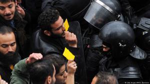 Ausschreitungen und Proteste in Tunis am 12. Januar 2018; Foto: Getty Images/AFP/S. Hamdaoui