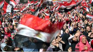 Proteste auf dem Tahrir-Platz in Kairo gegen Ägyptens Diktator Husni Mubarak; Foto: dpa