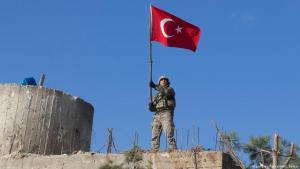 """Türkische Einheiten erobern am 28. Januar 2018 im Rahmen der """"Operation Olivenzweig"""" die Burseya-Berge in Nordsyrien; Foto: picture-alliance/AA"""
