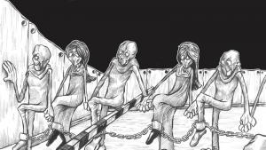 "Die alles separierende Sperranlage - Auszug aus Mohammed Saba'anehs ""White and Black: Political Cartoons from Palestine"""