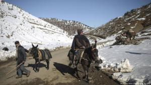 Verschneites Atlasgebirge bei Tighanmin am 15. Februar 2018; Foto: AP/Mosaʹab Elshamy