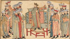 "Abbasidenkalif Al-Qadir mit Ehrengewand Mahmud Ghaznis aus dem Jahr 1000 - Miniatur von Rashid al-Dins ""Jami' al-tawarikh""; Quelle: Wikimedia Commons"