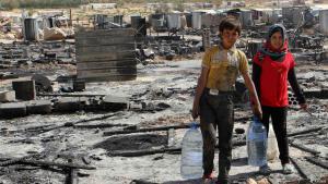 Das Archivfoto vom 09.08.2014 zeigt syrische Flüchtlingskinder in Arsal, in der Nähe der Grenze zwischen Syrien und dem Libanon. Foto: Reuters / Ahmad Shalha