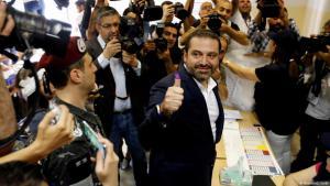 Der libanesische Regierungschef Saad Hariri am 6. Mai 2018 bei der Stimmabgabe in einem Wahllokal in Beirut; Foto: Reuters