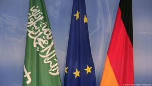 Die Fahnen Saudi-Arabiens, der Europäischen Union und Deutschlands; Foto: dpa/picture-alliance