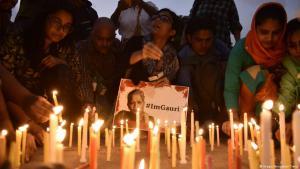 Mahnwache für getötete Journalistin Gauri Lankesh in Kalkutta; Foto: Imago/Hindustan Times