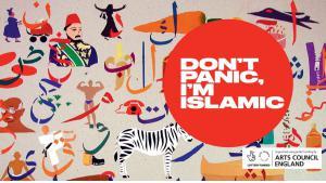 "Event-Poster zur Publikation ""Don't Panic, I'm Islamic"" bei Saqi Books; Quelle: designmynight.com"