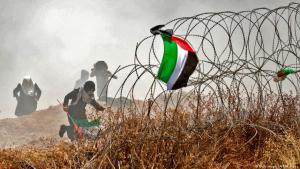 Palästinensische Proteste am 15. Mai 2018 an der Grenze zum Gazastreifen; Foto: AFP/Getty Images
