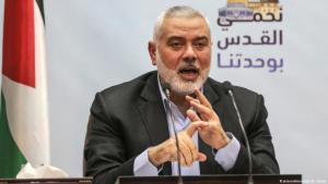 Hamas-Chef Ismail Hanija in seinem Büro in der Gaza-Stadt. Foto: Picture alliance /dpa/ W.Nassar