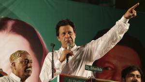 Pakistans neuer Ministerpräsident Imran Khan während einer Rede nach seiner Wahl in Islamabad; Foto: dpa