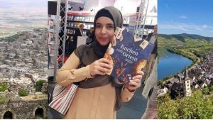 """Fotomontage (m.) zeigt die Deutsch-Syrerin Huda Al-Jundi mit ihrem Buch """"Kuchen trifft Orient"""" auf der Frankfurter Buchmesse; Foto: privat"""