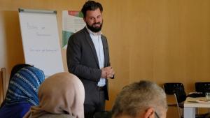 Der Islamwissenschaftler und Geschäftsführer der AIWG, Jan Felix Engelhardt, während des AIWG-Promovierendenforums 2018; Foto: Dilruba Kam