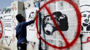 Unabhängige Medien unerwünscht: Graffiti in der jemenitischen Hauptstadt Sanaa; Foto: AFP