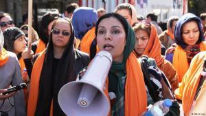 Proteste von Frauen in Kabul; Foto: DW/H.Sirat