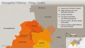 Grenzgebiet zwischen Pakistan und Indien: Seit ihrer Unabhängigkeit vor 72 Jahren vergiftet der Streit um die Bergregion das Verhältnis zwischen Indien und Pakistan. Foto: Bundezentrale für politische Bildung, das Auswärtige Amt der Bunderepublik Deutschland und die DW.