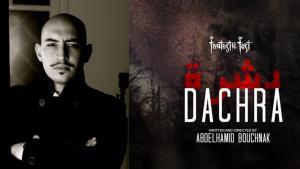 """Fotomontage Regisseur Abdelhamid Bouchnak und Kinoplakat """"Dachra""""; Quelle: YouTube"""
