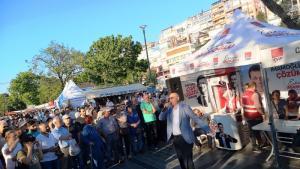Ekrem İmamoğlu, Kandidat der Opposition bei der Bürgermeisterwahl in Istanbul bei einer Wahlkampfveranstaltung; Foto: Mariam Brehmer