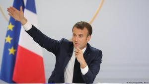 Frankreichs Präsident Emmanuel Macron während einer Rede am 25.04.2019 in Paris; Foto: Getty Images/AFP