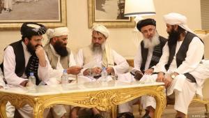Vertreter der afghanischen Delegation am zweiten Tag der Friedensgespräche in Doha; Foto: AFP/K. Jaafar