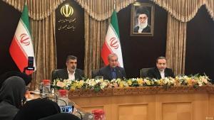 Irans Regierungssprecher Ali Rabei kündigt am 07.07.2019 in der iranischen Hauptstadt Teheran die Uranreicherung jenseits des im Atomabkommen vorgesehenen maximalen Anteils von 3,67 Prozent an; Foto: Irna