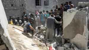 Zivilisten in Idlib können nirgendwo hin fliehen - auch Häuser, Krankenhäuser und Schulen werden bombardiert. Foto: Foto: Getty Images/afp/O.H.Kadour