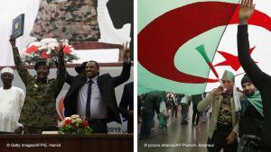 Bildkombination Sudan/Algerien: Im Sudan schlossen Militär und Protestbewegung eine Übereinkunft, in Algerien wird weiter demonstriert; Foto: AP/picture-alliance/AFP/Getty Images