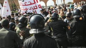 Proteste von Lehrern in der marokkanischen Hauptstadt Rabat gegen die Politik Mohammed VI.; Foto: picture-alliance/AP Images/M. Elshamy
