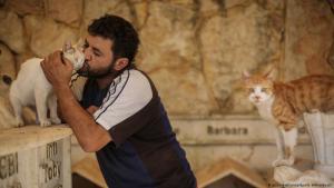 """Helfer in der Not für Tiere: Mohammed Alaa al-Jaleel, auch bekannt als """"der Katzenmann von Aleppo"""", hilft einer Katze aus den Trümmern eines ausgebombten Gebietes in Khan Shaykhun, wo er nach lebenden Katzen sucht, um sie in sein """"Ernesto's Cat Sanctuary"""" zu bringen."""