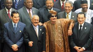 Riege ehemaliger arabischer Despoten (v. links nach rechts): Tunesiens Ben Ali, Jemens Ali Abdullah Salih, Libyens Muammar al-Gaddafi und Ägyptens Hosni Mubarak; Foto: picture-alliance/dpa