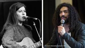 Bildkombo Farzane Zamen und Ramy Essam; Foto: Najma Abukar/pictuure-alliance/Zumapress