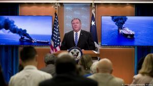 US-Außenminister Mike Pompeo am 13. Juni 2019 während einer Pressekonferenz im State Department zu den Tankerangriffen im Persischen Golf; Foto: picture-alliance/AP