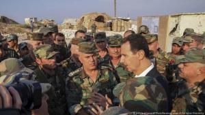 Syriens Diktator Baschar al-Assad besucht am 22.10.2019 Truppenteile in Habeet in der Provinz Idlib; Foto: picture-alliance/AP