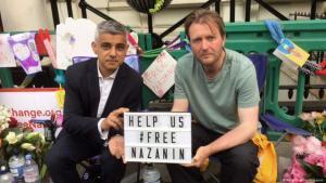 Solidaritätskampagne zur Freilassung Nazanin Zaghari-Ratcliffes, der Projektmanagerin der Thomson-Reuters-Stiftung, in London mit Oberbürgermeister Sadeq Khan; Quelle: Twitter
