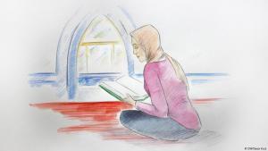 Illustration: Anna auf dem Boden sitzend in einer Moschee mit Koran in der Hand; Foto: DW/Gesa Kuis