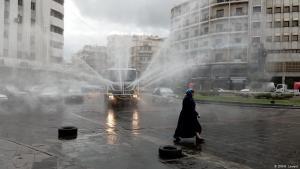 Corona-Krise in Syrien: Desinfektion von öffentlichen Plätzen in der Hauptstadt Damaskus; Foto: DW/H.Levent