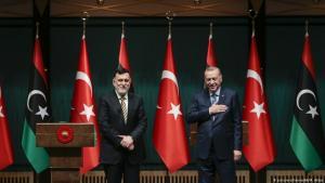Der libysche Ministerpräsident Fayez al-Sarradsch (l.) zu Besuch beim türkischen Präsidenten Recep Tayyip Erdoğan am 4. Juni 2020 in Ankara; Foto: picture-alliance/AA/M. Aktas