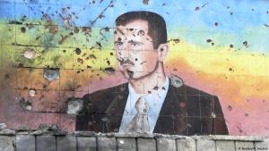 Porträt von Baschar al-Assad gemalt auf Wand, Aleppo, Syrien: Foto: Reuters/M. Hasno