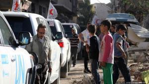 Ankunft eines UN-Hilfskonvois im Norden Syriens; Foto: AFP/Getty Images