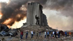 Zerstörtes Silo nach der Explosion im Hafen von Beirut, 04.08.2020; Foto: Getty Images/AFP/STR